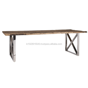 Dining Table Steel Cross Legs Sleepers Wood Stainless Modern Kitchen Idea