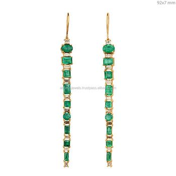 21e3fe4f51bc 18 K oro amarillo pendientes ganchos baguette diamante Esmeralda diseñador  92x7mm fina pendientes expoter de joyas