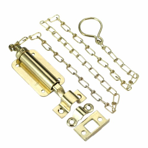 Spring Loaded Chain Slide Square Bolt Latch Iron Security Door ...