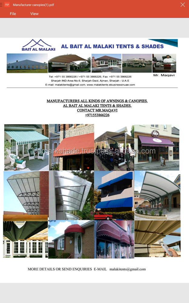 AWNINGS, CANOPIES, TENTS, CAR PARK SHADES, SAIL SHADES, SUN SHADES, SHADES. MANUFACTURER 971553866226