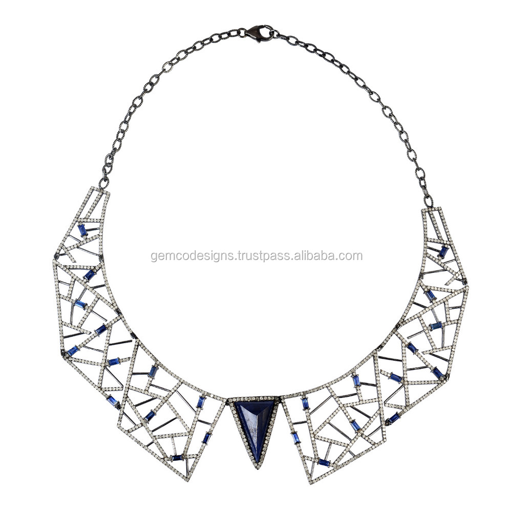 Sapphire Choker Necklace 18kt Gold 925 Sterling Silver Diamond Designer Anniversary Jewelry