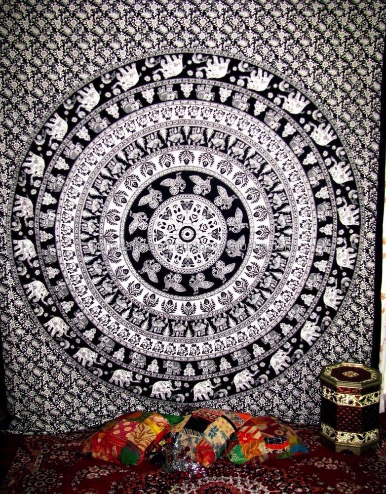 noir et blanc elephant mandala tapisserie tenture hippie. Black Bedroom Furniture Sets. Home Design Ideas