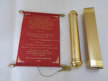 royal scroll wedding invitations in gold tube with matching box for weddings
