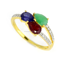 10 KT Gold Ring With Blue Sapphire Glass,Emerald,Glass Filled Ruby & White Cubic Zirconia