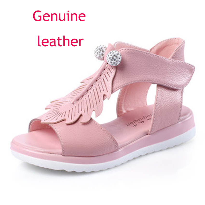 NEW 1pair Girl Children Sandals Genuine Leather Shoes super quality Flower Kids Sandals
