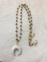Moon Shape White Jade gemstone with labradorite rosary chain Sterling Silver with rose gold plating necklace
