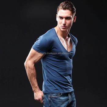 ef144a51f Assorted Colors Deep V Neck T-Shirt Men Fashion Compression Short Sleeve T  Shirt Male