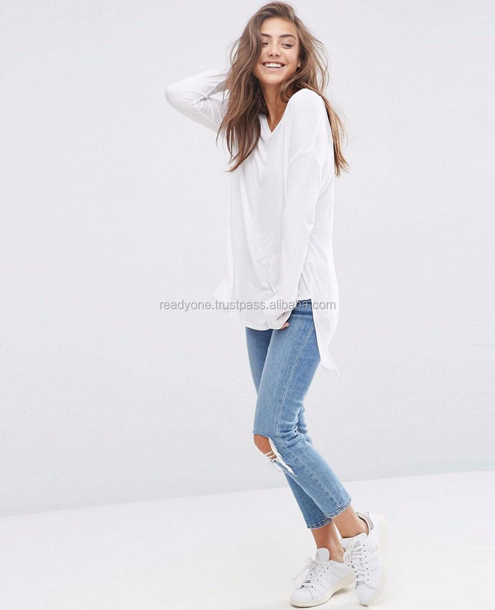 db63eca8 Supplier Custom Striped Women Longline T-shirt Wholesale - Buy ...