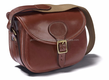 Veg tan leather Cartridge bag vintage leather bags Hunting shooting bags