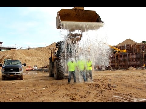 Ice Bucket Challenge With a Caterpillar 980 Wheel Loader