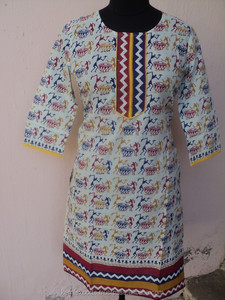 Front neck designs for women wear cotton warli art printed indian summer wear tunic kurtis