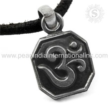 glamorous Design Plain Silver Religious OM Pendant 925 Sterling Silver Jewelry Wholesale Supplier Handmade Silver Jewellery