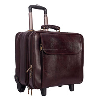 Vintage Style Real leather trolley language travel bags/leather weekend bag's with wheel