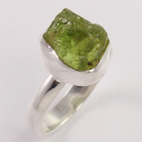 Natural PERIDOT Raw Gemstone 925 Sterling Silver Jewelry Trendy Ring Size US 7