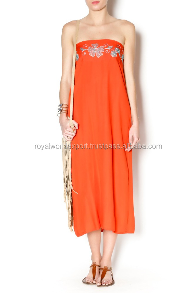 100% Natural Rayon Orange Color Eco Friendly Handmade Embroidered Waist Unique Look Elastic back Maxi Skirt/Dress