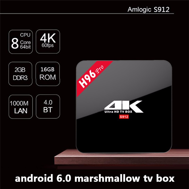 Dragonworth h96 pro Factory direct sale mini tv box Amlogic S912 Android 6.0 marshmallow mobile tv box