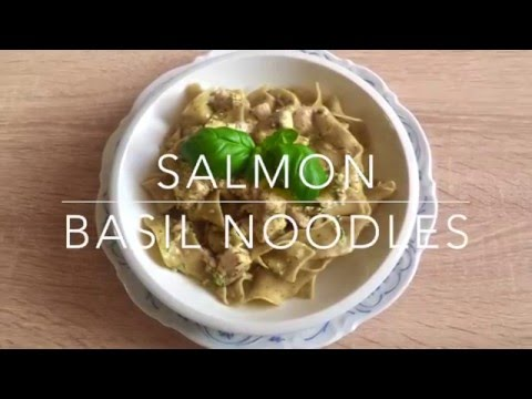 Salmon cream sauce with basil noodles// Halal Cooking