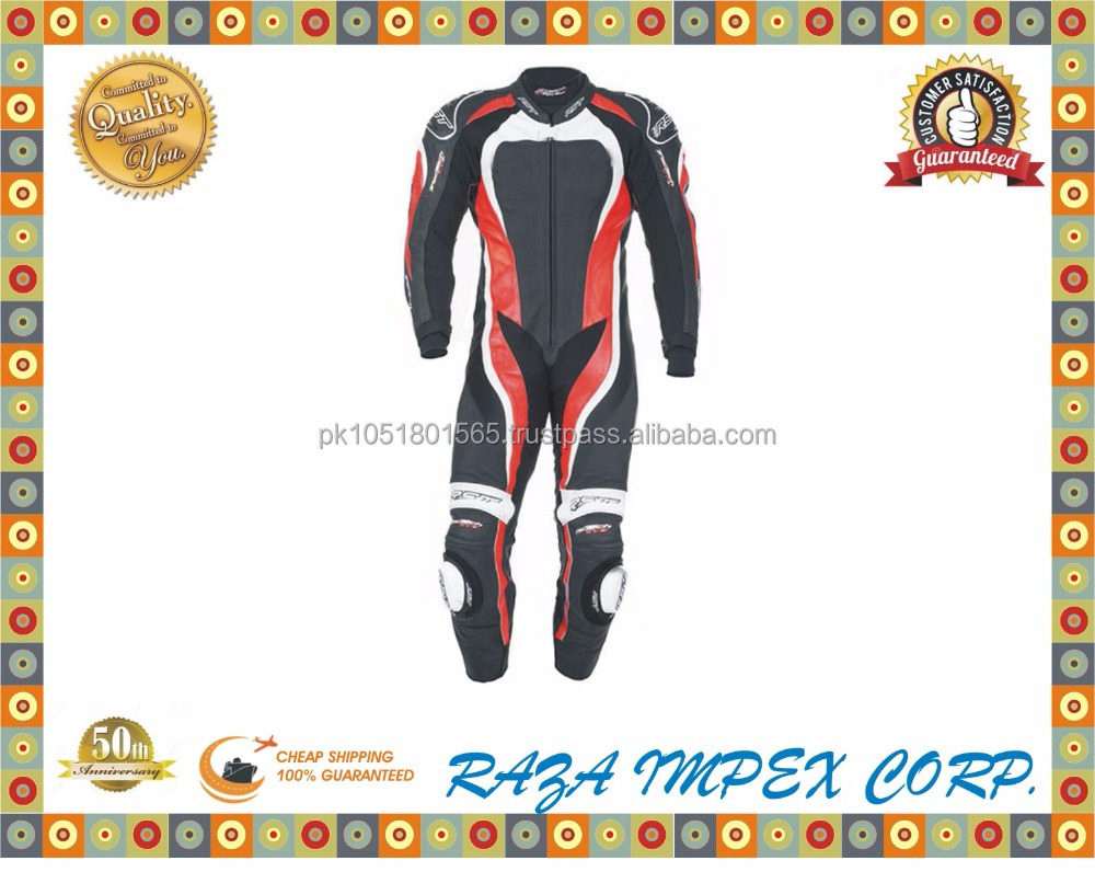 Made in Pakistan leather racing suit, cowhide leather motorcycle suit / Tractech Evo 2 One Piece Leather Suit - Red