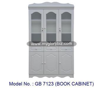 Antique Style Bookcase 3 Gl Doors
