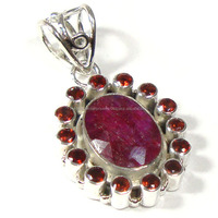 wholesale 925 sterling silver jewelry Indian ruby gemstone pendant semi precious jewelry