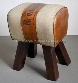 Vintage Industrial Canvas Leather Round Puff Stool & Vintage Industrial Canvas Leather Round Puff Stool - Buy Round ... islam-shia.org