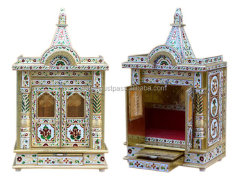 PD Craft Mandir Home Design , Wooden Temple U0026 Pooja Ghar Silver U0026 Golden  Mina Indian