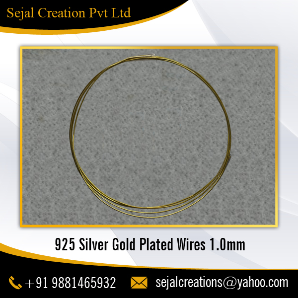 925 Silver Gold Plated Wire 1.0 mm for Attaching Jewelry