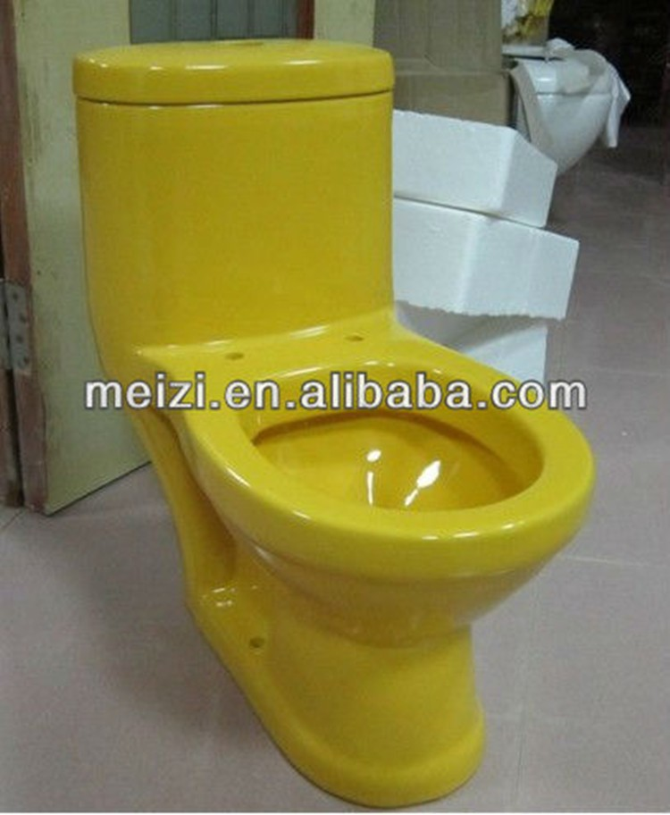 One piece washdown yellow toilets for kids
