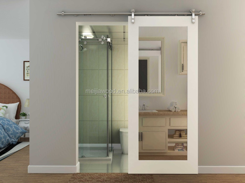 Hotel Sliding Barn Door Mirror Inlay Mdf Hanging Door