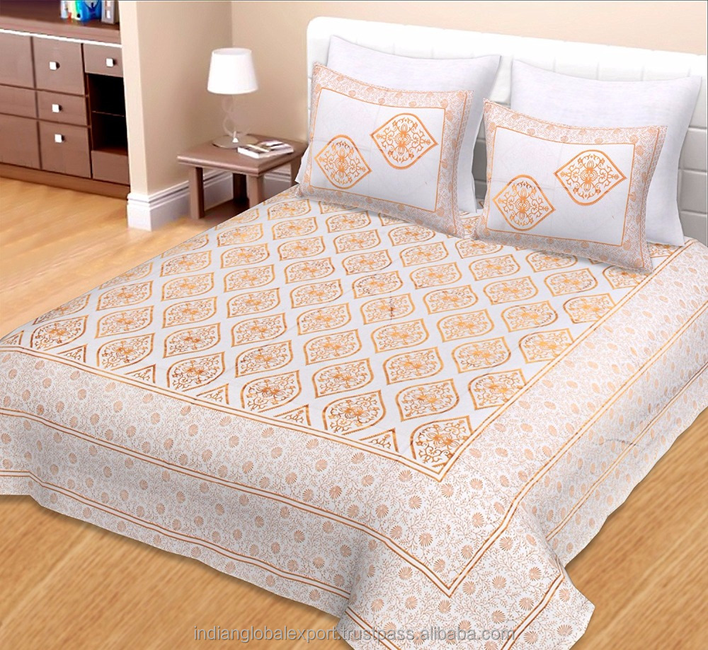 Jaipuri White Gold Print Cotton Bedsheet Double