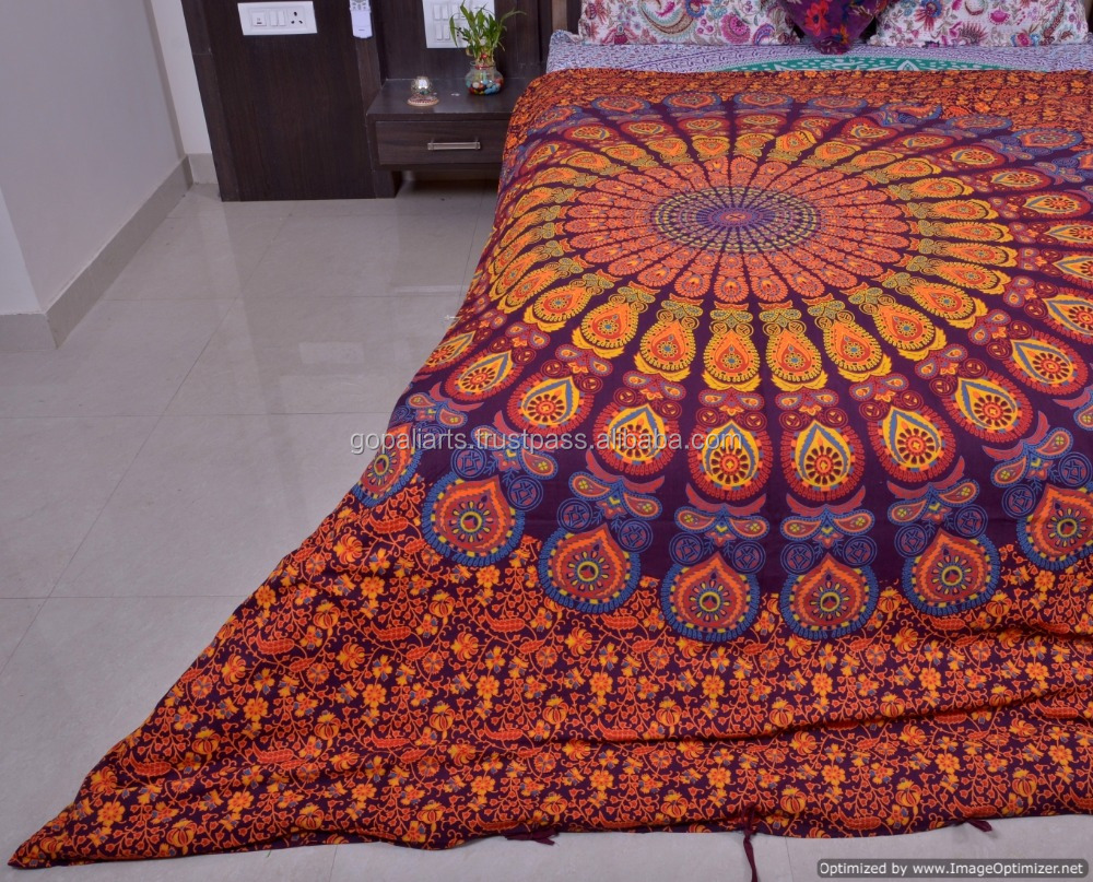 Cotton Fabric Indian Duvet Cover Hand Screen Printed Bohemian Doona Cover Blanket Cover