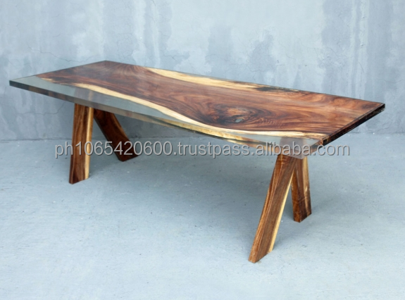 Solid Acacia wood with clear resin dining table