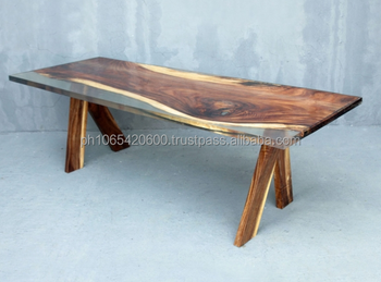 Solid Acacia Wood With Clear Resin Dining Table Buy Solid Wooden