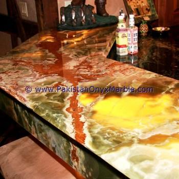 GREEN ONYX BACKLIT ONYX COUNTERTOPS FOR BAR RECEPTIONS