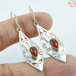 "Solid 925 Sterling Silver Natural Carnelian Handmade Earring Jewellery 2"" AB102"