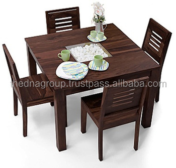 Modern Design Mahogany Color Finish Square Four Sitter Wooden Dining Table  Set - Buy Four Sitter Wooden Dining Table Set,Modern Design Wooden Dining  ...