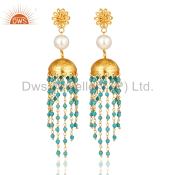 6ed910845 New Arrival Ethnic Silver Earring Turquoise And Pearl Gemstone Earrings  Manufacturer of Indian Traditional Jewelry