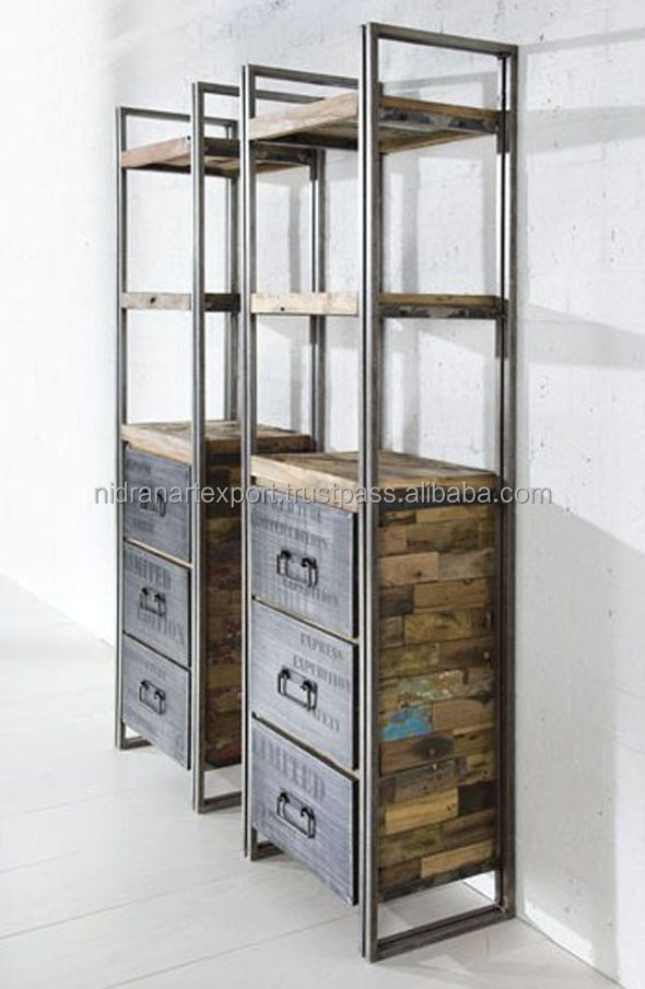 Industrial  Vintage Iron Reclaimed Wood Cabinet With 2 Drawers