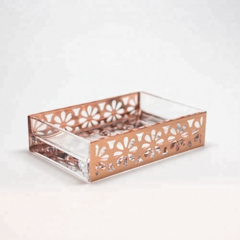 Made in Taiwan Acrylic Mold Injection Soap Holder with Rose Gold Flower Pattern