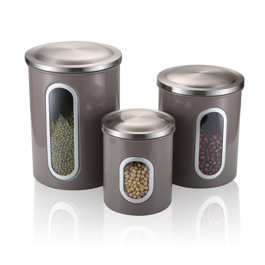 Get Quotations · FC Airtight Window Kitchen Canister, Stainless Steel Canister  Sets With Anti Fingerprint Lid,