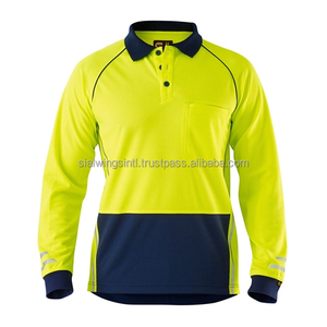All weather hi vis polo safety shirts / long sleeves work wear uniform shirt