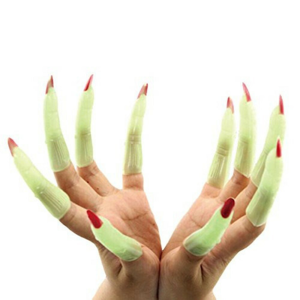 Buy Spooky Witch Spider Gloves with Nails Orange Halloween ...