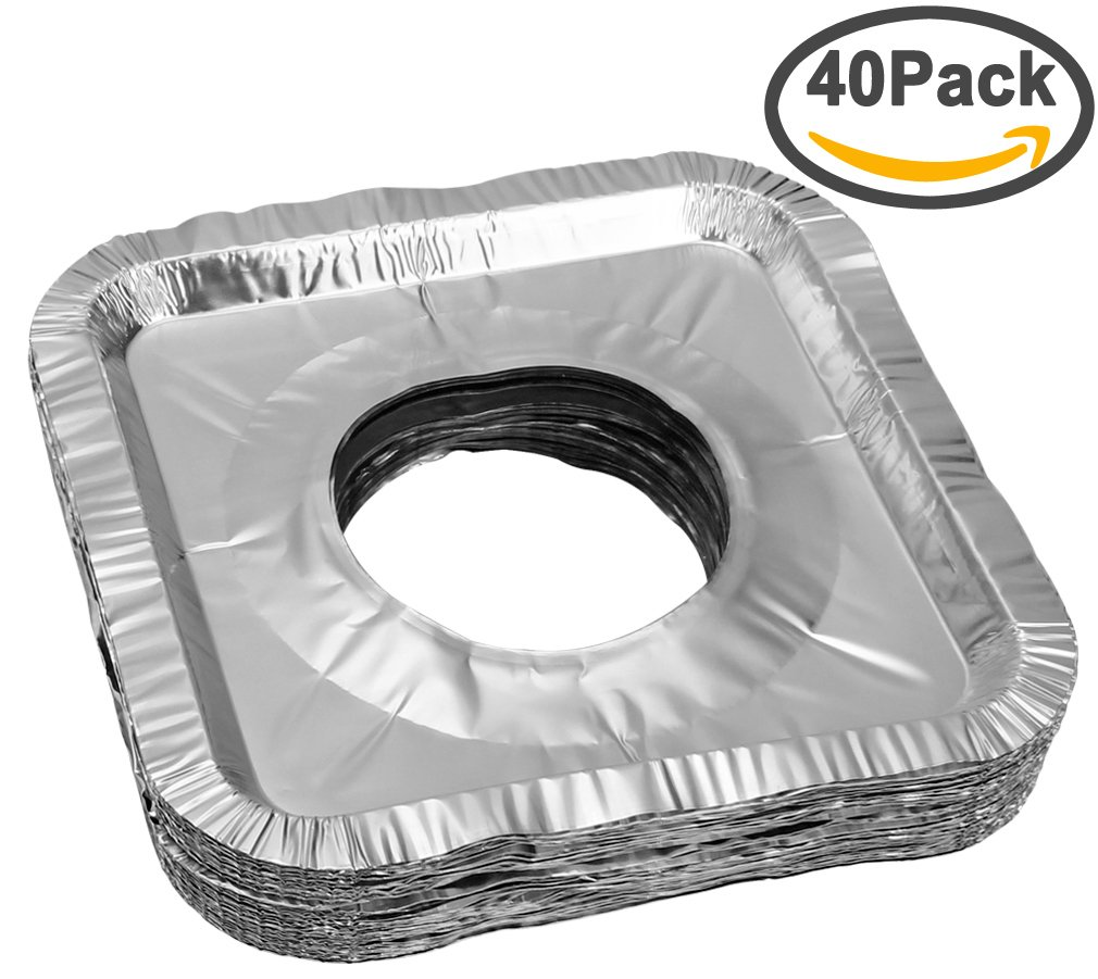 """Aprince Stove Burner Covers, 50 Pieces Aluminum Foil Square Gas Stove Burner Covers, Disposable Thicker Bib Liners Covers for Gas Top, 8.7"""" x 8.7"""""""