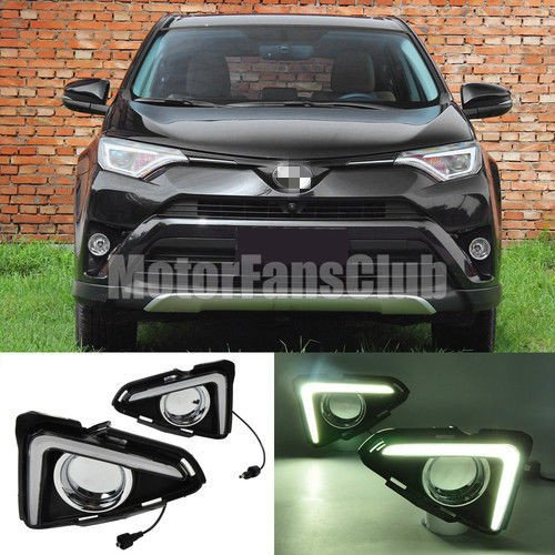 MotorFansClub Daytime Running Light LED DRL Fog Lamp Cover for Toyota RAV4 2016-2017