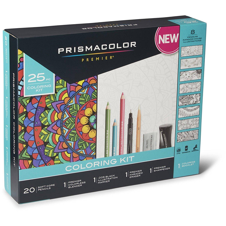 Prismacolor Premier Soft Core Pencils Adult Coloring Book Kit with Blender, Illustration Marker, Eraser, Sharpener and Coloring Booklet, 25 Pieces