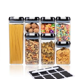 BPA Free Air Tight Food Containers for Pantry Organization and Storage, 7-Piece Air-Tight Food Storage Container Set