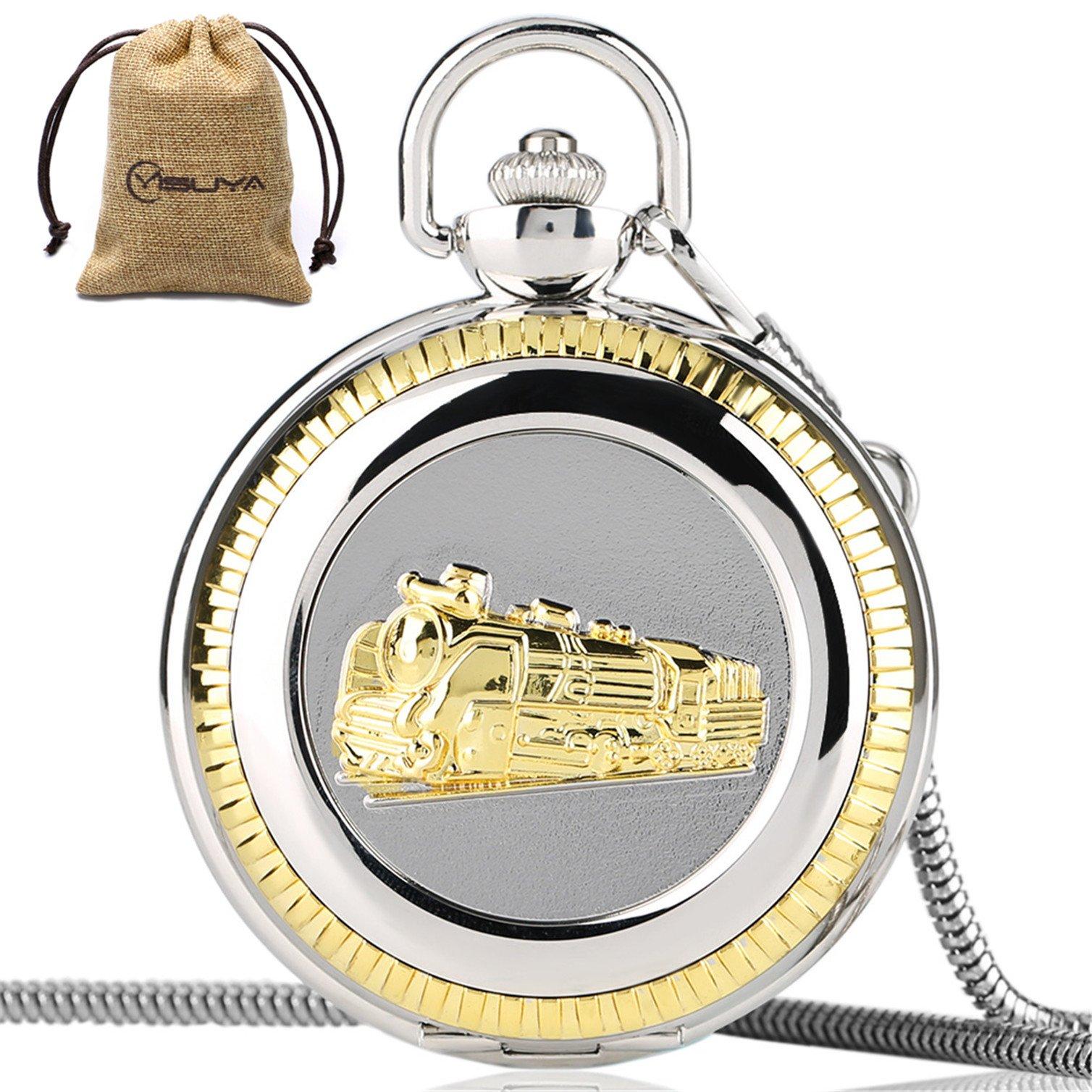 Vintage Train Railroad Conductor's Locomotive Quartz Pocket Watch Roman Numberal with Chain
