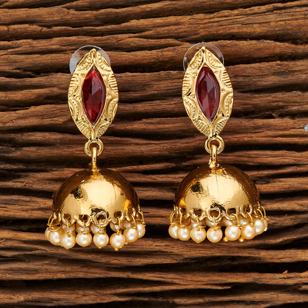 Indo Western Jhumkis with mehndi plating 9494 Red