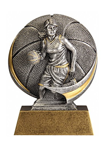 Decade Awards Female Basketball Motion Extreme 3D Trophy - Detailed Gold and Silver Finish - Customize Now - Personalized Engraved Plate Included and Attached to Award