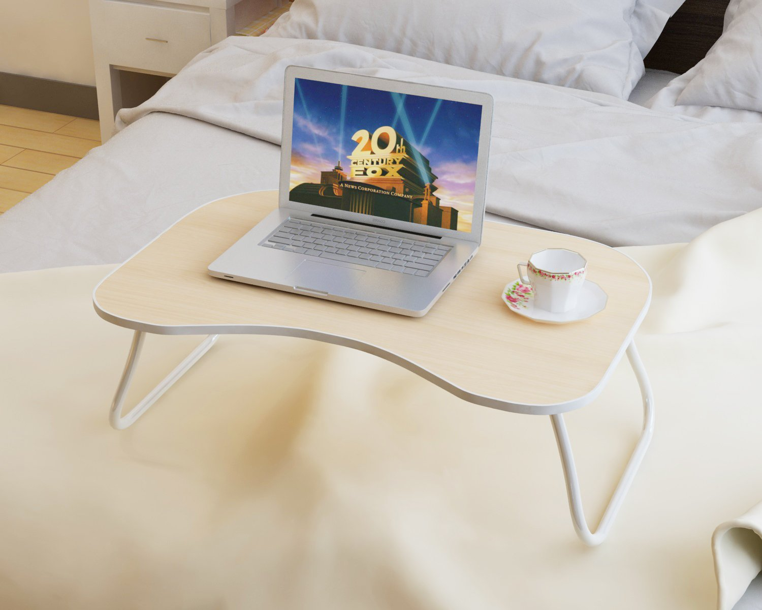 """Homebi Lap Desk Tray Table Laptop Stand Portable Bed Desk Breakfast Tray for Bed Couch and Sofa with MDF Top Board and Foldable Metal Legs (9.65""""H, White Oak)"""